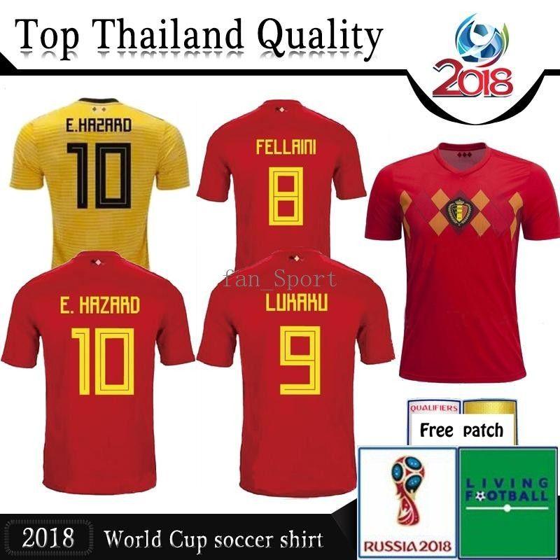 e6dc0f002 2018 2019 World Cup Belgium Soccer Jersey Home Red Away 18 19 LUKAKU ...