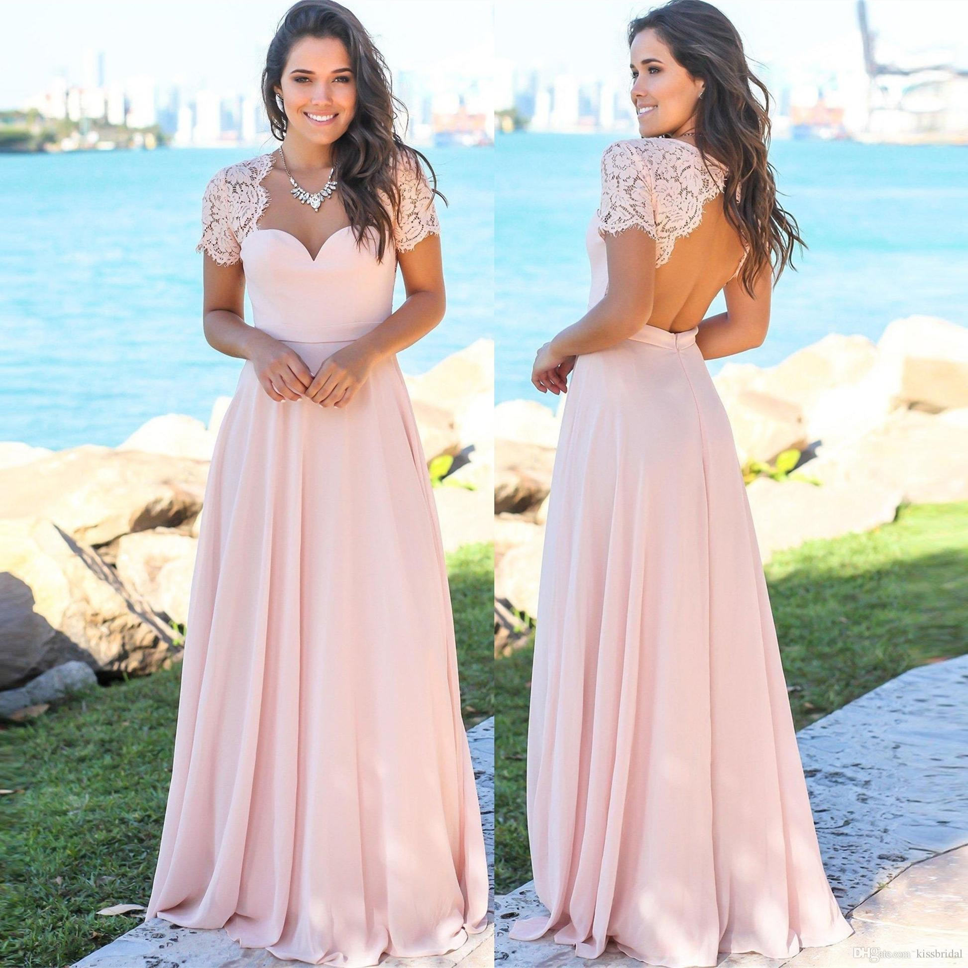 a6e5a5d3b02b Short Sleeve Bridesmaid Dresses Cheap 2019 Column Backless Lace Chiffon  Long Pink Formal Gowns Wedding Guest Prom Ball Party Dress Charcoal  Bridesmaid ...