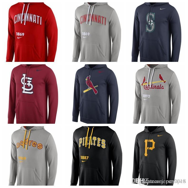 timeless design d73a0 c6591 Men s Cincinnati Reds Seattle Mariners St. Louis San Diego Padres  Pittsburgh Pirates Royal Logo Performance Pullover Hoodie