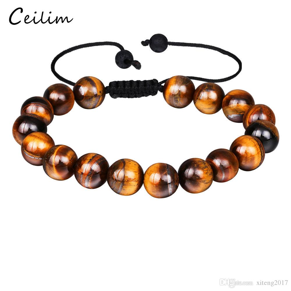 00381bed75604 Men's Fashion Natural Tiger Eye Beads Matte Onyx Stone Woven Bracelet  Bangles Healing Balance Prayer Women Men Jewelry Wholesale