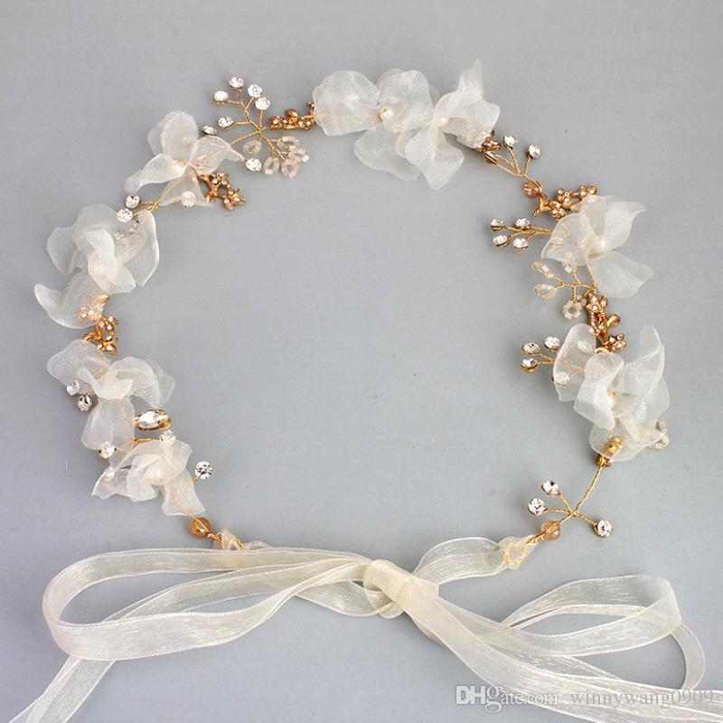 2018 Western Fashion Diy Wedding Hair Accessories Gold Leaf Crystal Headband With Silk Rope Pearl Flower Band Tiara Party Bride Headdress From