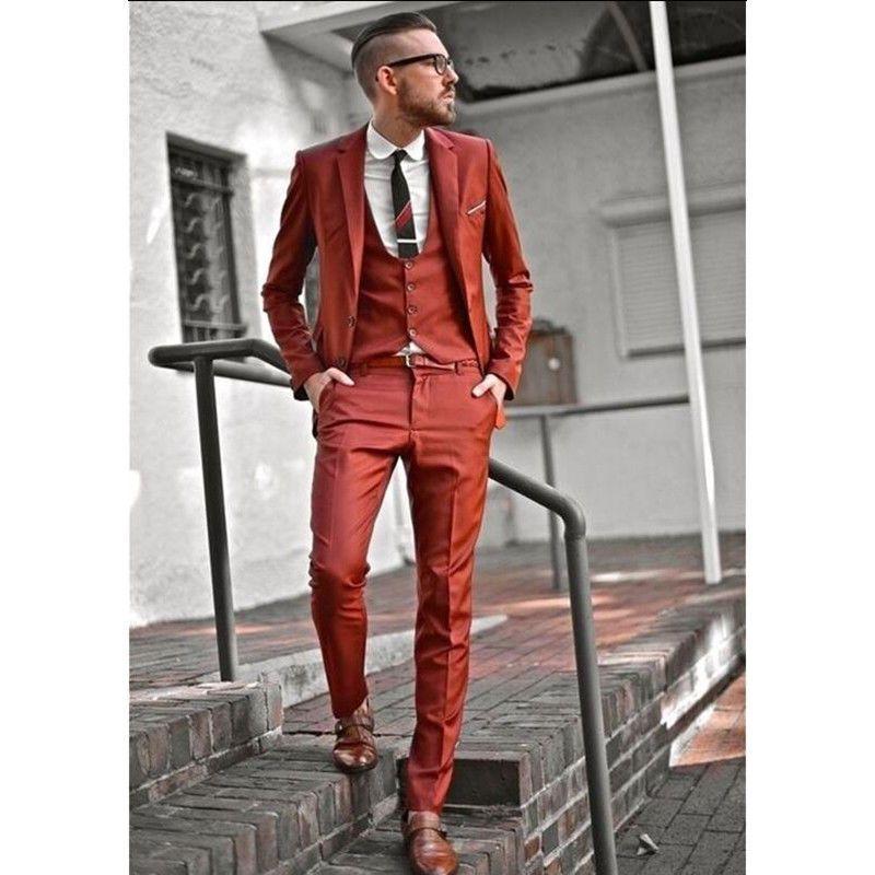 Orange Men Wedding Suit Slim Fit Blazer Tuxedo Prom Party Suit ...