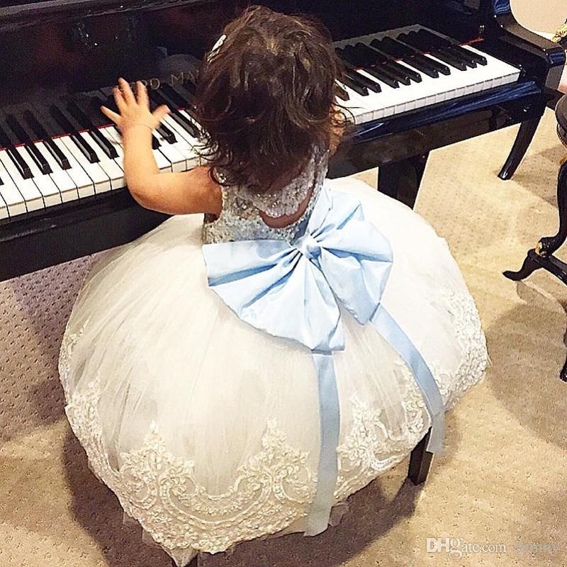 2018 nova princesa de prata lantejoulas top branco flor menina vestidos tutu na altura do joelho da criança do bebê crianças pageant baile de formatura vestidos de festa de comunhão