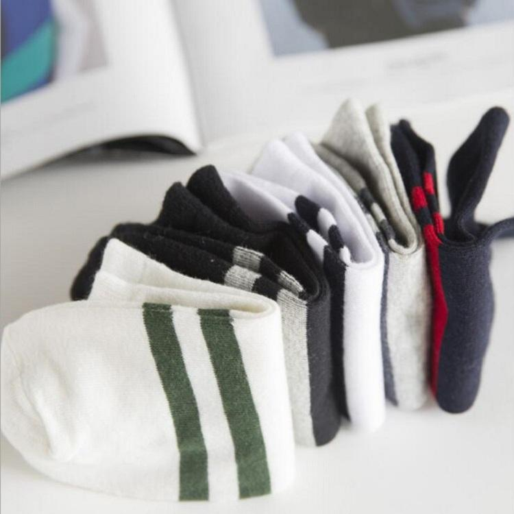 ankle socks casual Polyester cotton elastic short for spring autumn summer Men Man Male Boy two strips