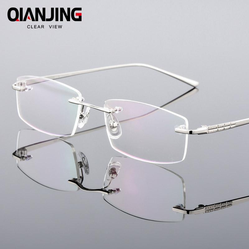 186cc868190f0 Compre QianJing Novos Homens De Negócios Ultra Light Frameless Óculos  Espetáculo De Óculos Sem Aro Óculos Ópticos Quadro Oculos De Grau De  Shuidianba, ...