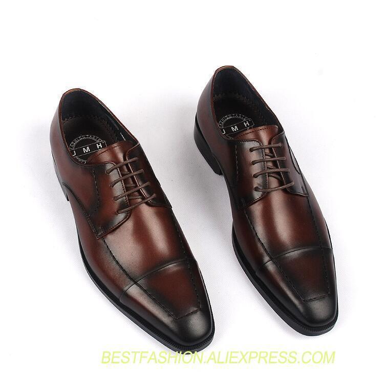 2737805cfb113 Acheter Chaussures Pour Hommes Faites À La Main, Couture Élégante Et  Décontractée, Cuir Véritable. Chaussures De Mariage Formelles.