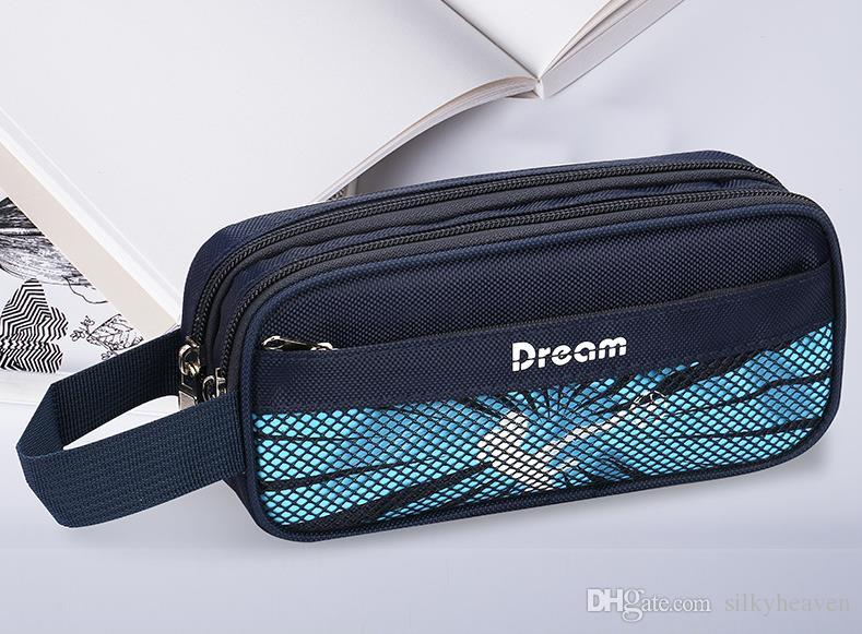 6380291b7bbb 3-layer Portable Pencil Case Canvas Striped Pencil Storage Box Large  Capacity Stationery Bags Multi-function Pencil box Pen Bag Pen Pocket
