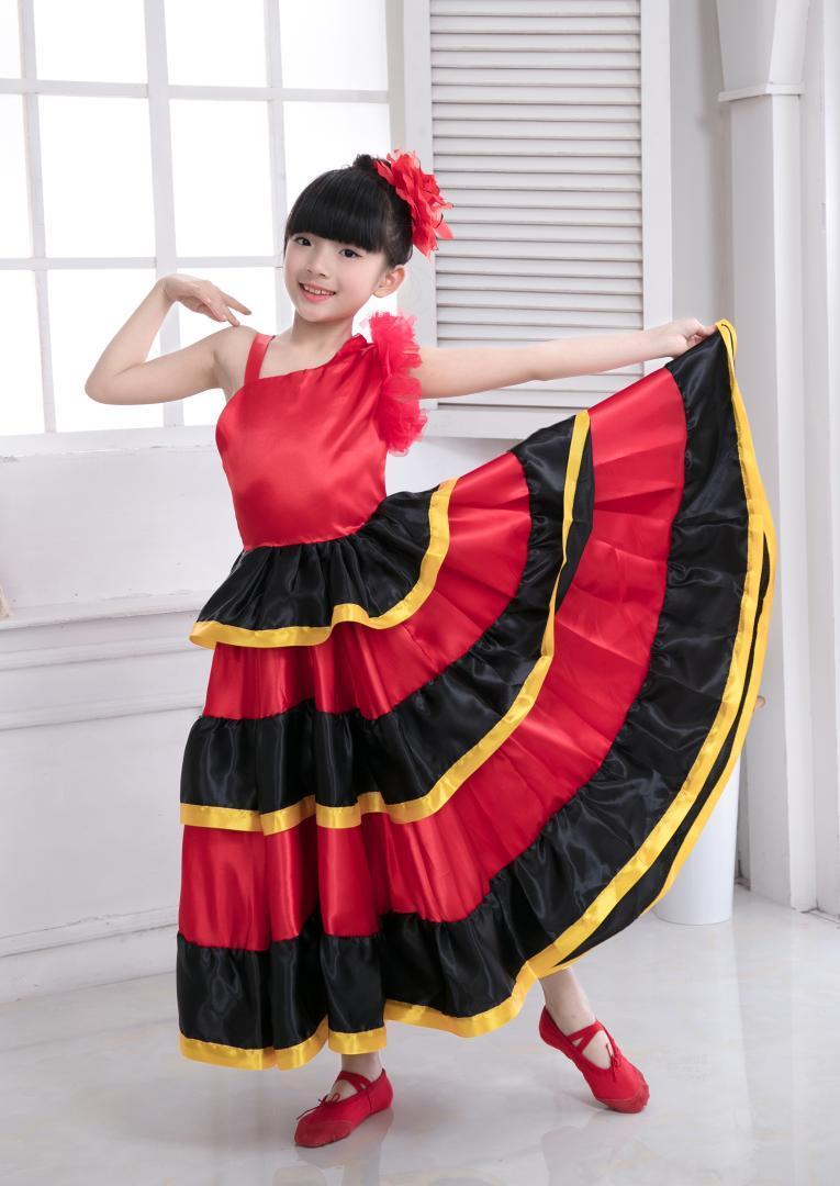 da9c1165f Falda para danza del vientre Niños Falda española de flamenco Trajes de  baile para niña Vestido flamenco falda-540