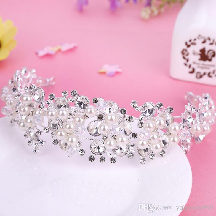 Bridal crown ornaments Korean pearl water drill crown jewellery hair belt
