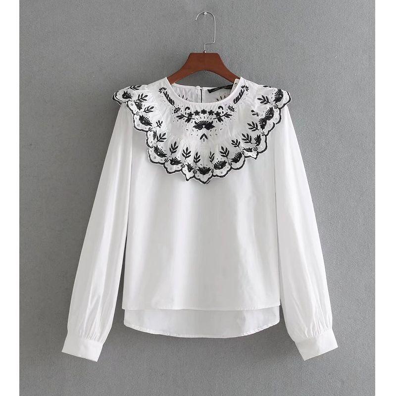 732bae4af1 Compre 2018 Moda Feminina Bordados Do Vintage Escavar Babados Camisa Branca  De Manga Longa Blusa Feminina Blusa Tops Femininas Novas Ls1838 De Octavi
