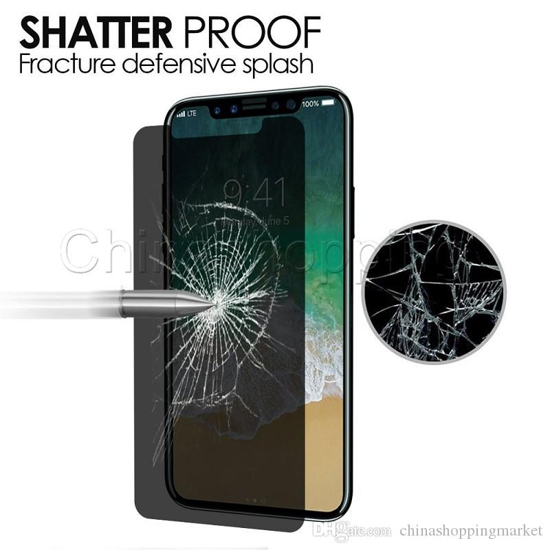 Privacy Tempered Glass Anti-Spy Peeping Screen Protector For iPhone X Xr Xs Max 8 7 6 6S Plus with Retail Package