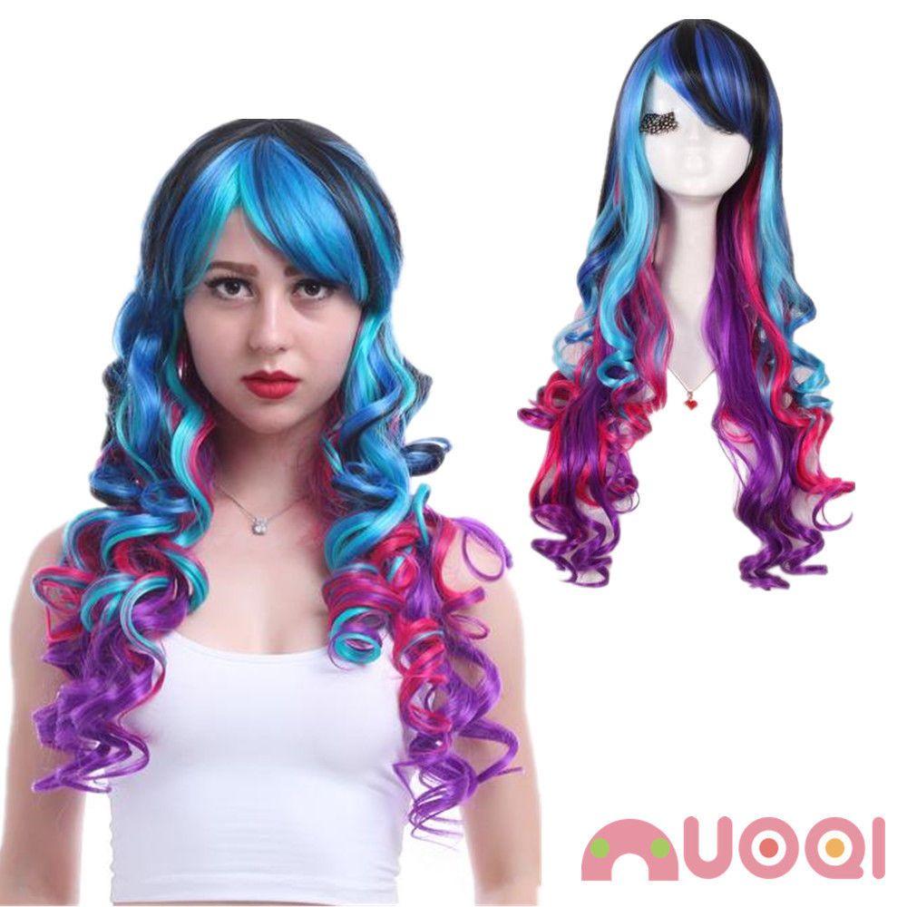 Harajuku Lolita Women Multi Color Wavy Curly Bangs Rainbow Hair