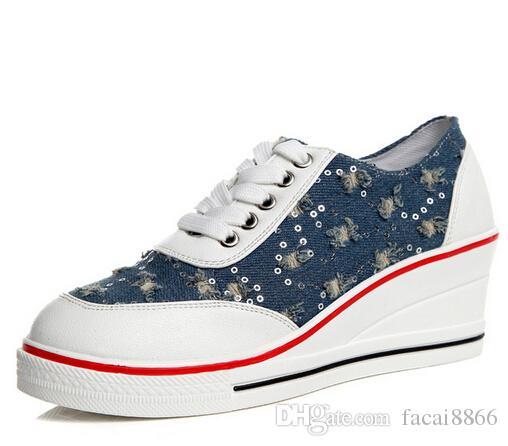 b6d651964 2018 Fashion Women S Shoes Mesh Breathable Shoes Women Ladies Wedges  Glitter Bling Platform Casual Shoes Denim Blue Mens Shoes Online Green  Shoes From ...