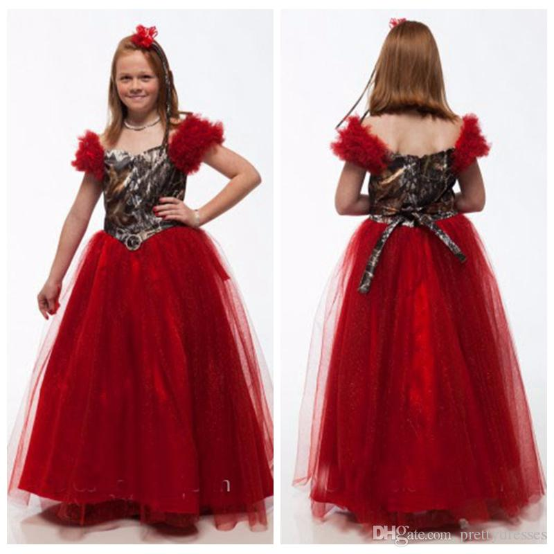 Off Shoulder Dark Red Camo Top Princess Flower Girls Dresses Floor Length Tulle Formal Kids Party Gowns For Wedding Wear Girl Pageant Gown