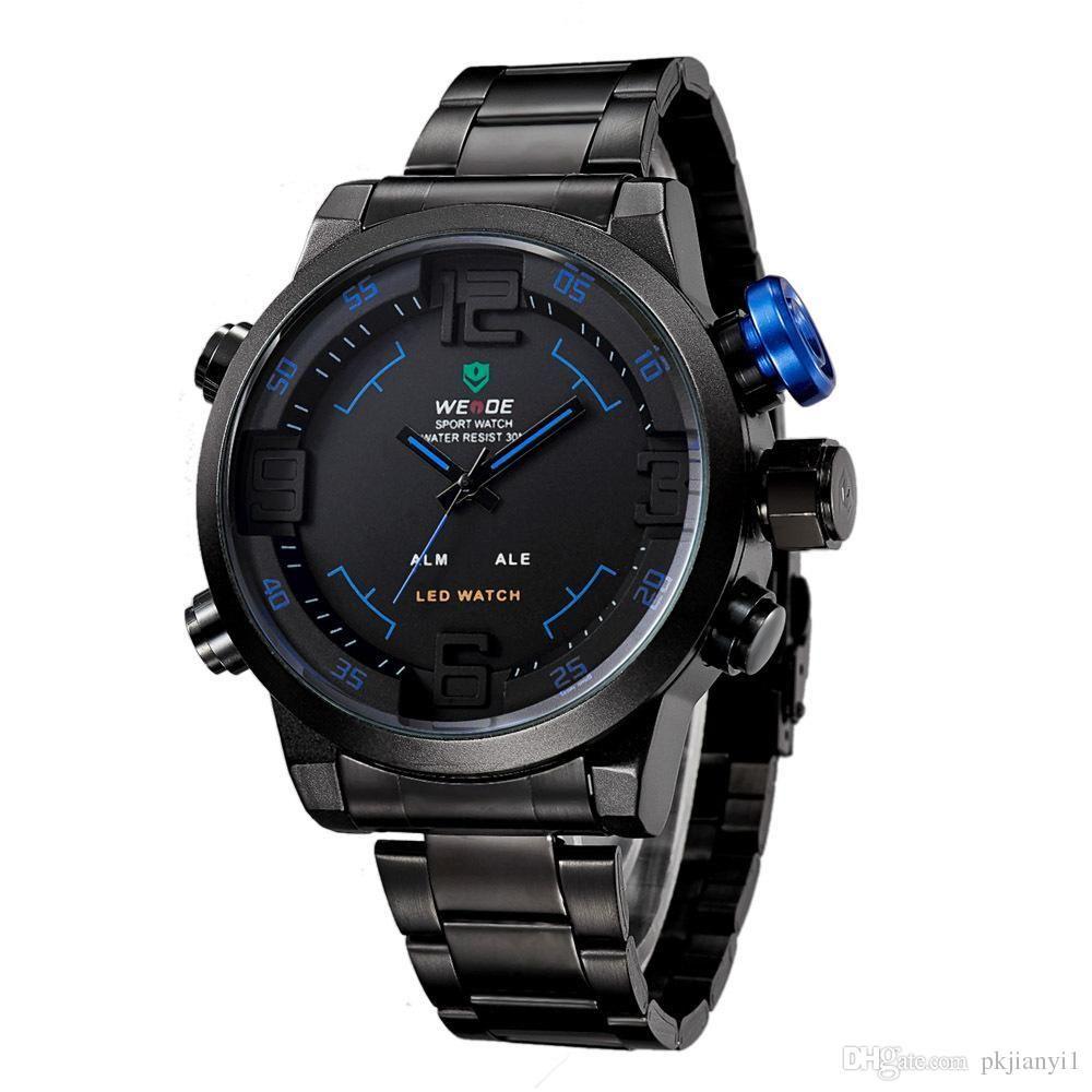 a4e004e507fe Compre 2018 WatchWatches De Lujo Marca De Lujo De Los Hombres Top WEIDE Reloj  LED Digital De Cuarzo Relojes De Pulsera De Buceo 30 M Reloj Militar Sport  ...