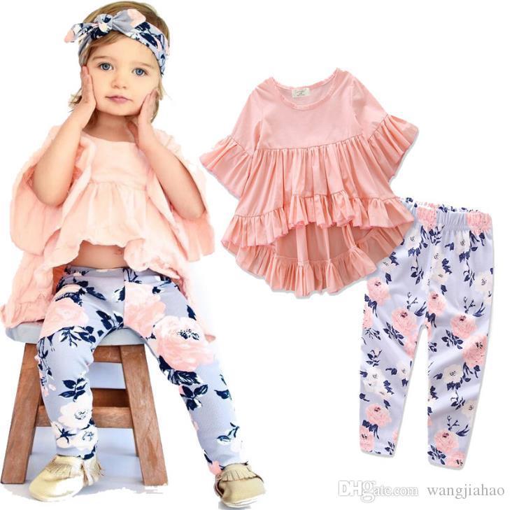 Compre 2018 Niñas Ropa De Los Niños Del Bebé De Algodón Top De Manga Corta Pantalones  Flor Ropa Set Toddler Kids Baby Girls Trajes Ropa A  47.24 Del ... 4c7ed8519fbe