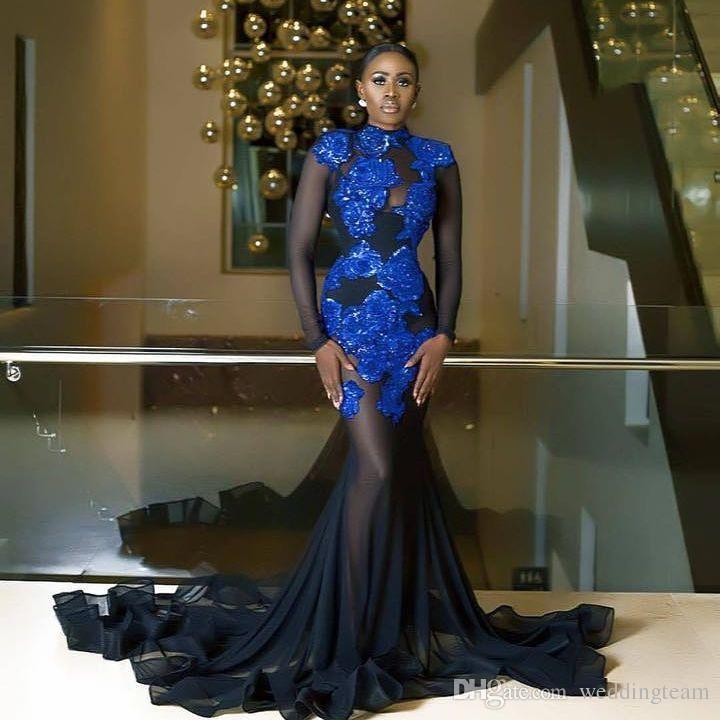 Wunderschöne Perlen Mermaid Abendkleider mit langen Ärmeln High Neck Pailletten Abendkleider Applizierte Sweep Train Plus Size Formal Dress