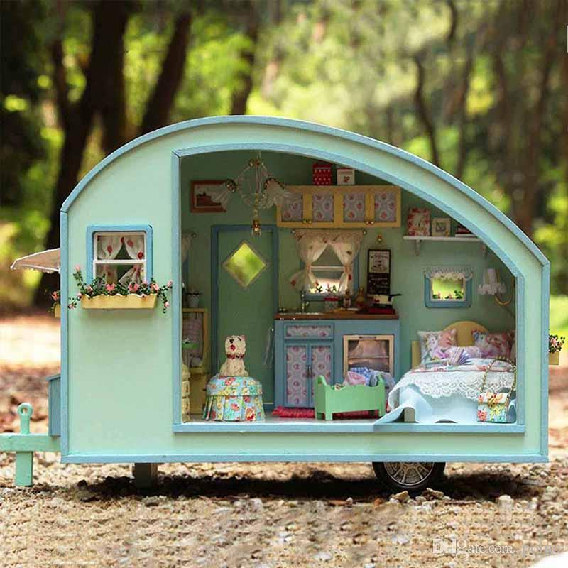 Wholesale Diy Mini Wooden Doll House Handmade Miniture Dollhouse Assemble  Small Furniture Kit For Kids Birthday Gift Time Travel Dollhouse Small  Wooden Doll ...