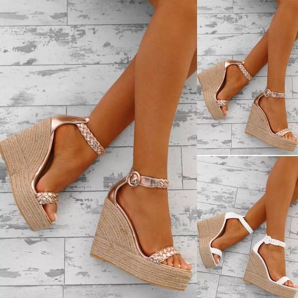 Compre Tallas Grandes Moda Mujer Sandalias De Cuña Zapatos Abiertos De Tacón  Alto Sandalias De Plataforma Tejida Zapatos De Verano A  33.17 Del  Paradise6 ... 9652d0708b12