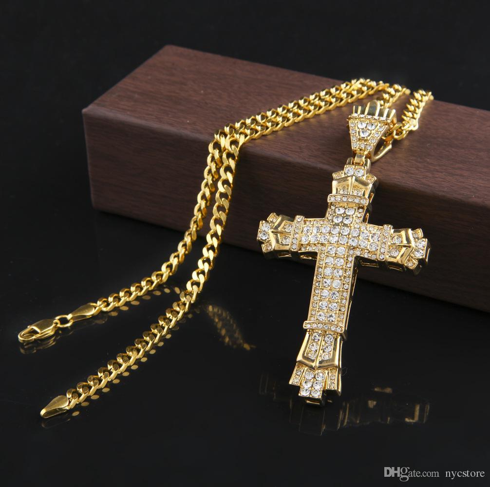 pendentif en argent rétro charme pendentif pleine glace sur cz diamants simulés pendentif crucifix catholique collier avec longue chaîne cubaine