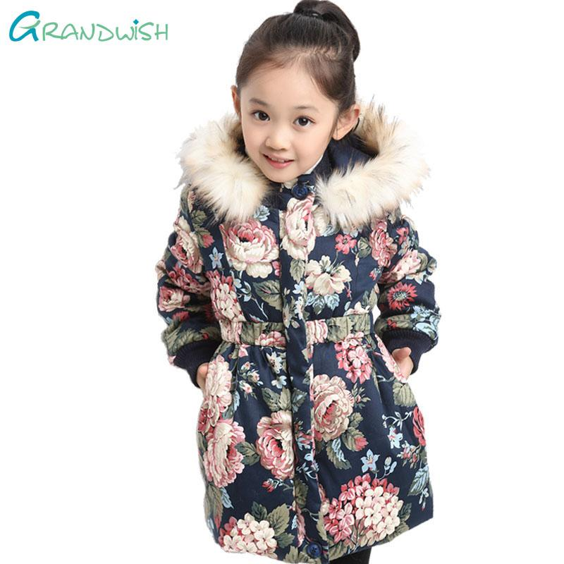 ba9140fbcd63 Grandwish Winter Jackets For Girls Kids Fashion Floral Printed Girl ...