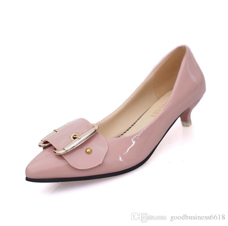 ddc39495eb50 2018 Autumn New Size 35-40 Women s Singles Shoes with Low-heeled Tip ...