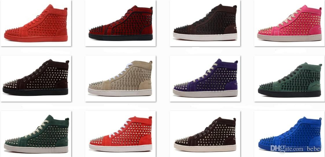 f97d1c0c88 Sports Shoes for Men Matte Leather With Spikes High Top Sneakers Men ...
