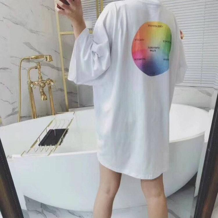 2018 Autumn New Large Size Short-sleeved T-shirt Female Long Section Loose  Women Clothes Summer Fashion Round Collar Cotton T-shirt Women Clothes  Large Size ... ab4b3c680