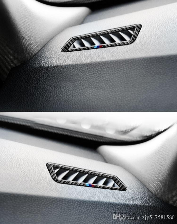 Pour bmw e90 e92 Voiture en fibre de carbone AC Outlet Trim Remise Air Sortie Cadre Décoration Autocollants 3 séries 2005-2012