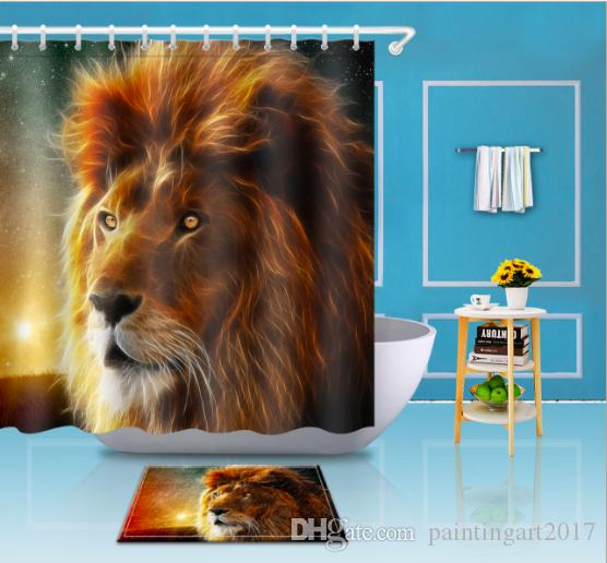 2019 Animal Lion Shower Curtains For Decor Modern Shark Bath Waterproof Curtain With 12 Hooks Bathroom Accessories Mats From Paintingart2017