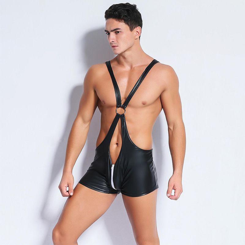 ba23b8168 2019 Mens Leather Bandage Jumpsuit One Piece Underwears Sexy Vinyl ...
