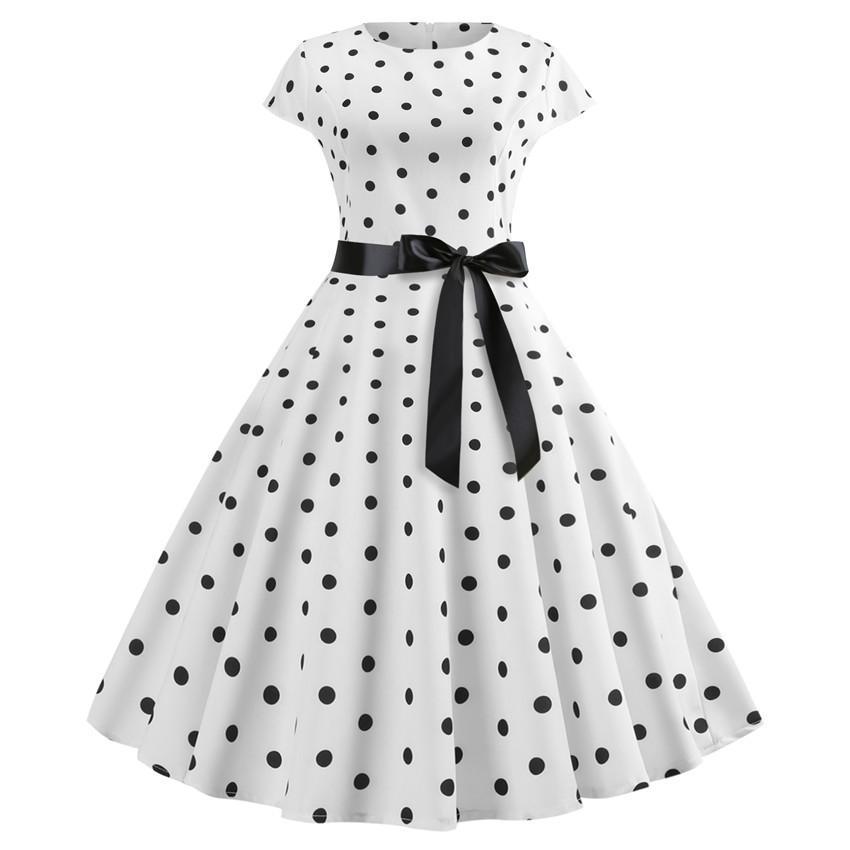 2019 2019 New Women Vintage Dress White Polka Dot Summer Dresses Plus Size  Pin Up Print Retro 50s Rockabilly Party Sundress Vestidos From Pileilang c1317c757731