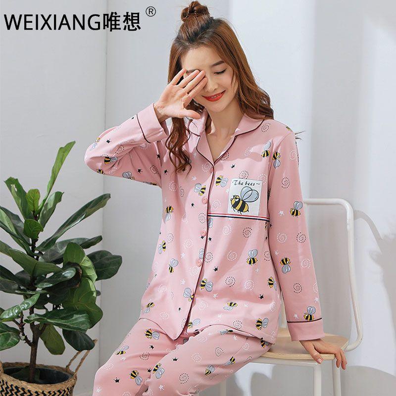 51fb3dbf09 Cheap WEIXIANG Pajama Set for Women Sleep Clothes+pant Pyjama Long Sleeve  Sleepwear Autumn Cotton Homewear Female Pijamas