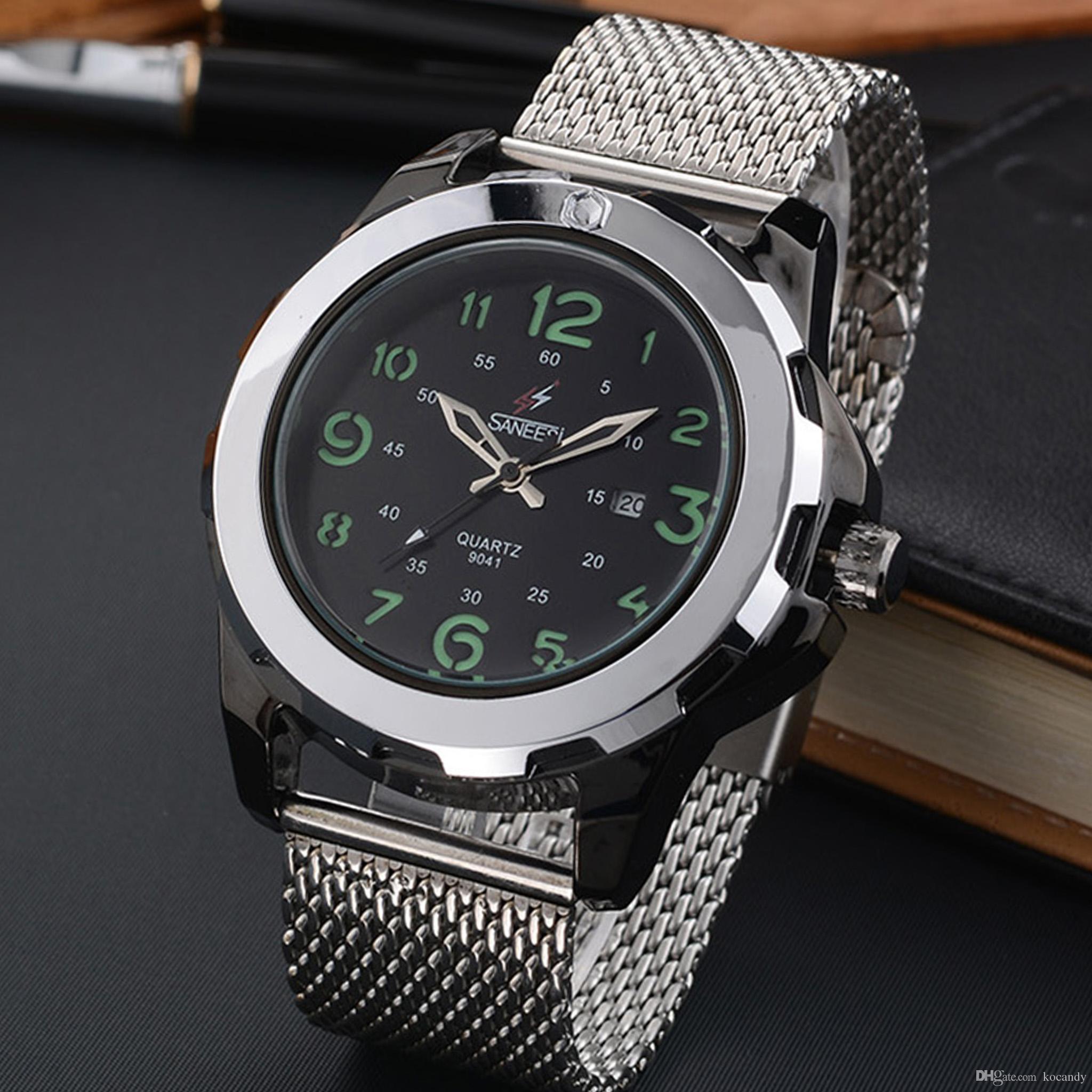 design senza tempo 5a8cc 9cdc4 Orologio al quarzo da uomo SANEESI movimento giapponese 30 metri  impermeabile e casual orologio di fascia alta # 9041