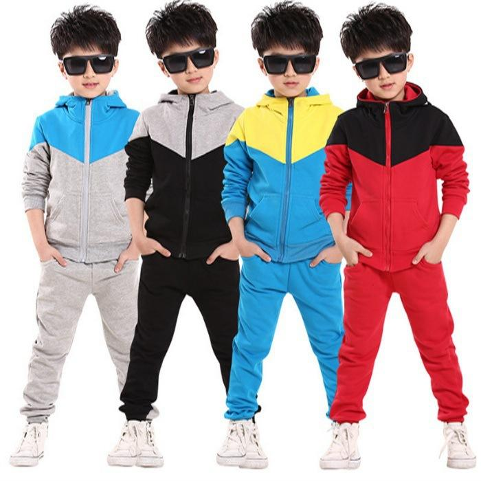 34ba0c7c7 2019 Children Tracksuit Sport Set Hooded Coat Pants Kids Boys Baby ...