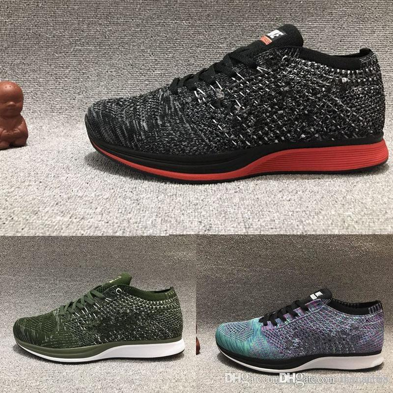 c2922acf13c9 ... reduced nike flyknit racer high quality mesh multicolor volt oreo  casual shoes lunar running shoes men