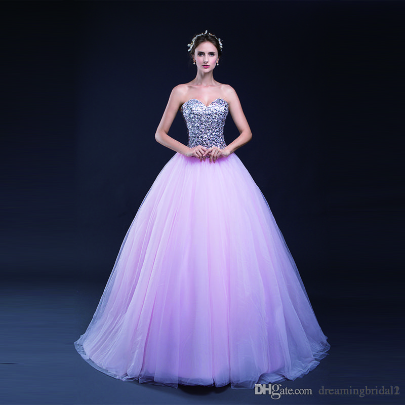 Elegant Pink Ball Gown Prom Dresses 2017