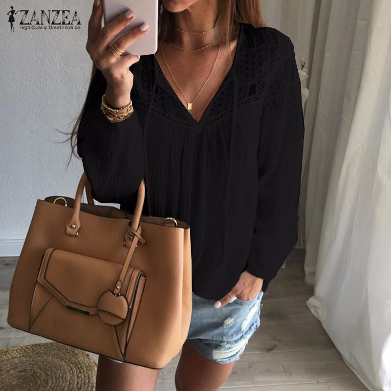 Sonbahar Gömlek 2017 Sıcak Satış Kadınlar Casual Gevşek Patchwork Dantel Tığ Bluzlar Seksi V Boyun Uzun Kollu Blusas S-5XL Tops