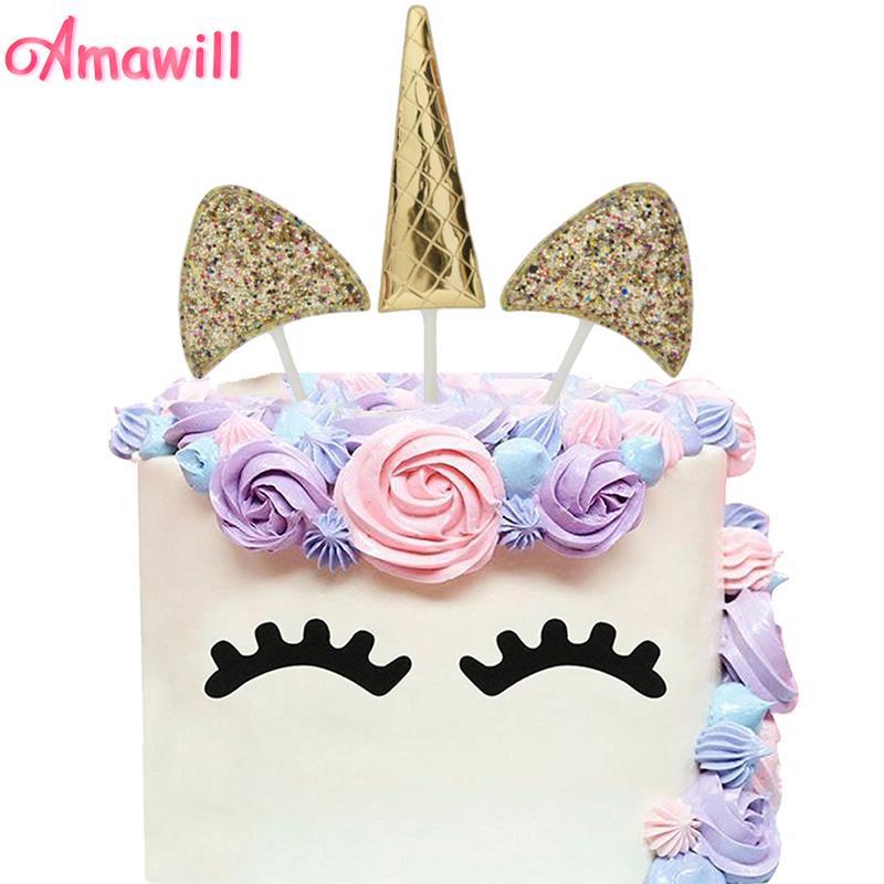2019 Amawill Gold Glitter Unicorn Horn Cake Topper For Baby Shower