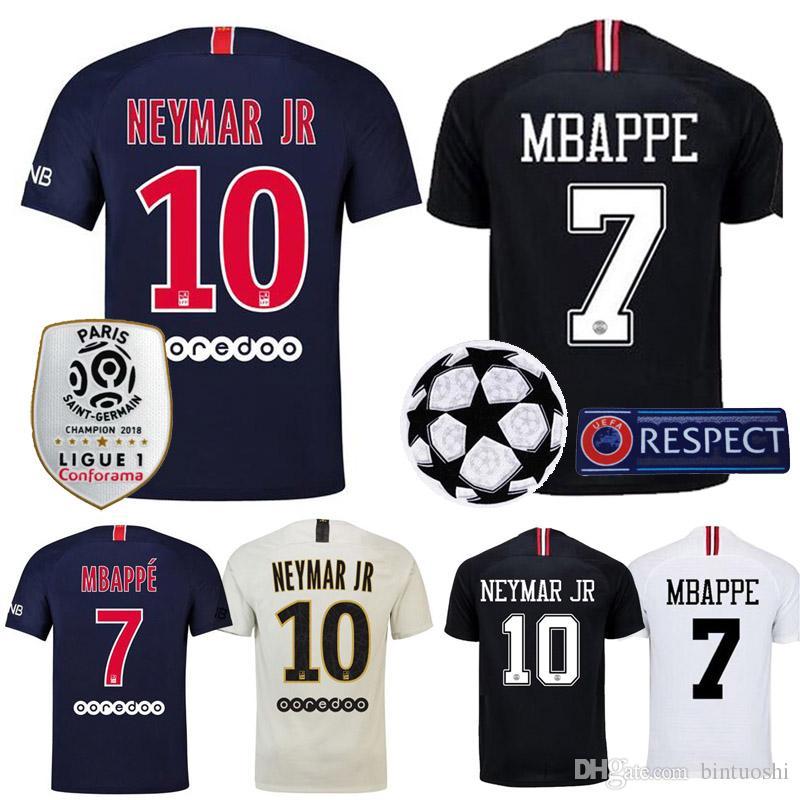 ca3ae8ac9f Compre Tailândia 2018 2019 MBAPPE Camisola De Futebol PSG Casa Fora Camisa  De Futebol Paris CAVANI NEYMAR JR VERRATTI Maillot De Pé Preto Branco De ...