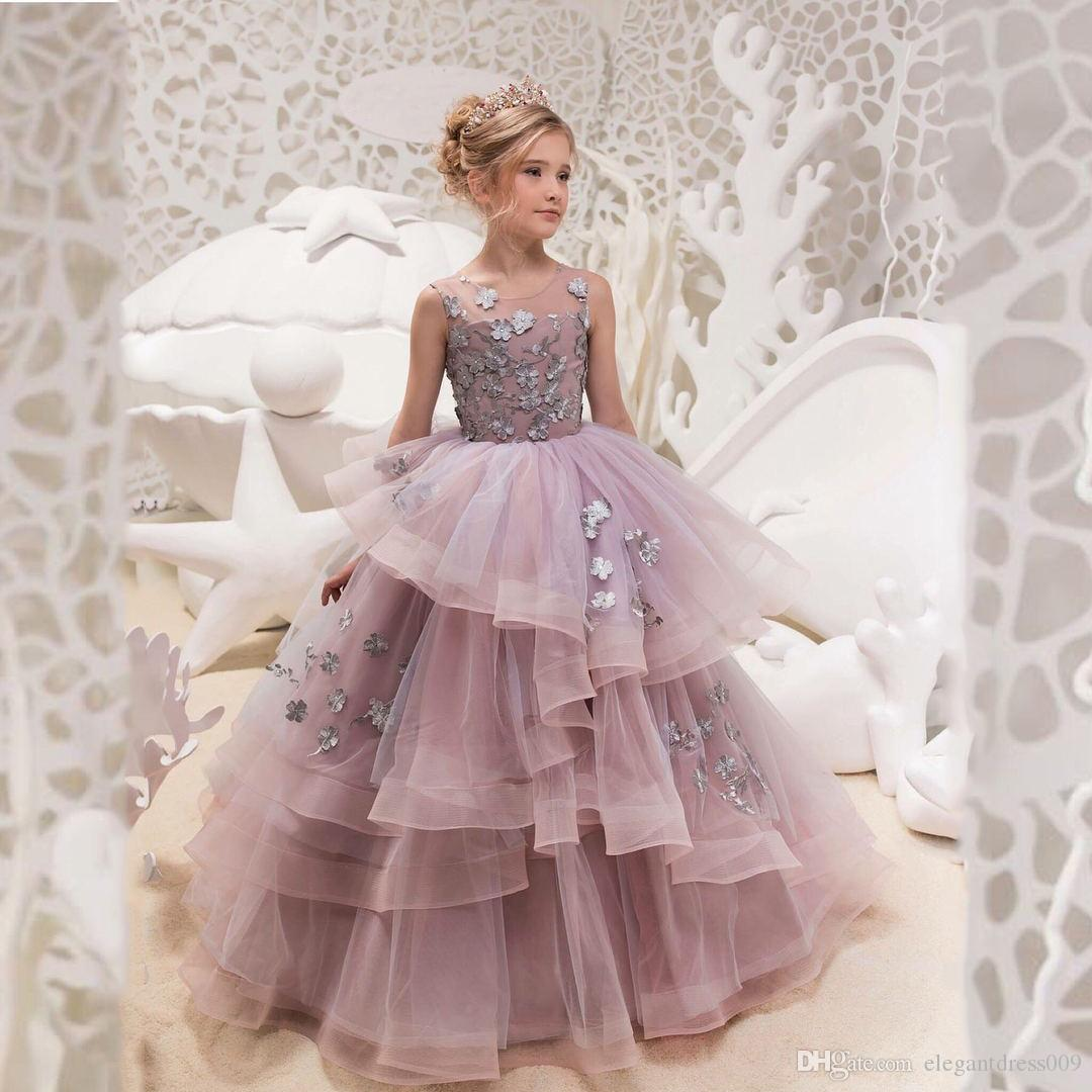df4ba96a8 2018 Purple Girls Pageant Dresses Jewel Neck Handmade Flowers Tiered ...
