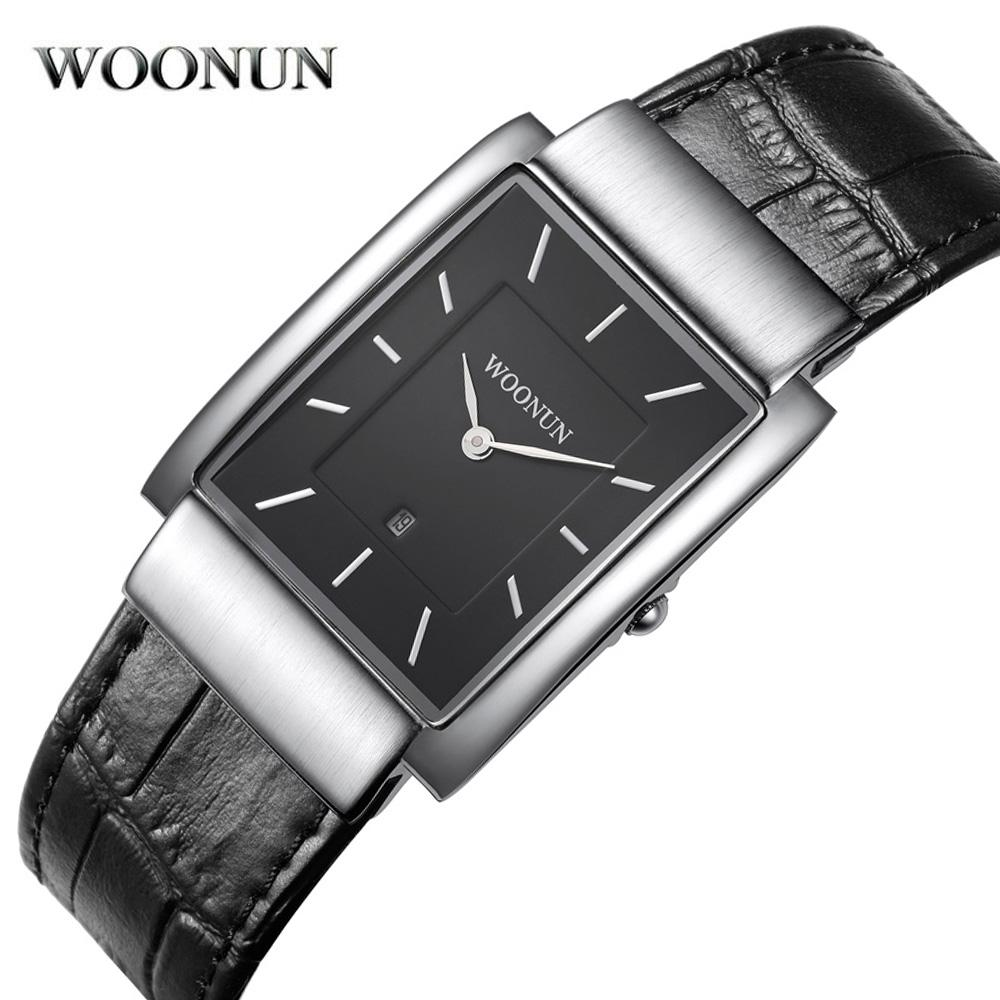 b472dd4b9b2e4 WOONUN Luxury Men Watches Famous Brand Leather Band Quartz Watches For Men  Fashion Rectangle Watch Ultra Thin Mens Watches Online Sale Watches For Sale  ...
