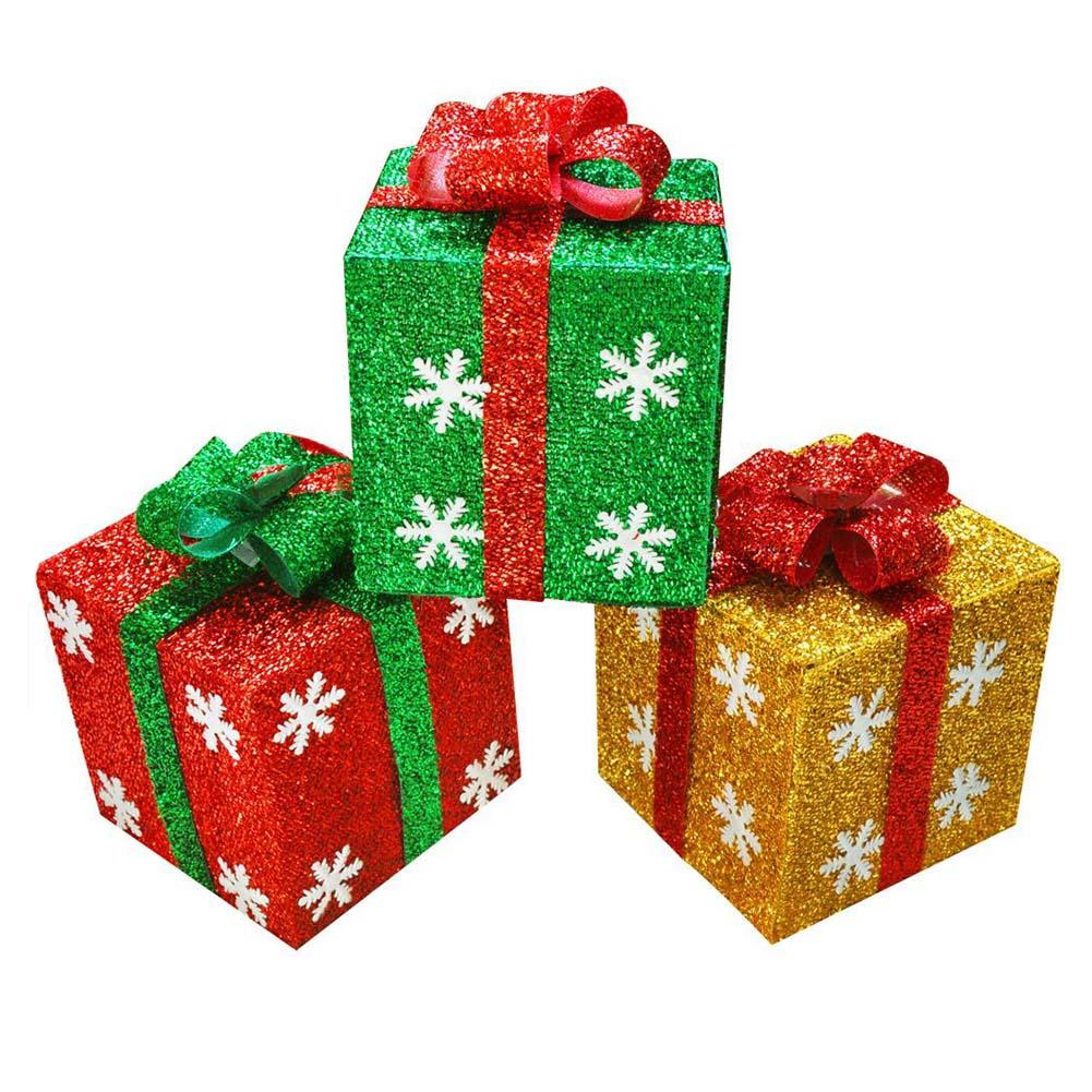Hot Sale Christmas Gift Box Ornaments Snowflake Glitter Present Boxes Yard Home Decoration D11