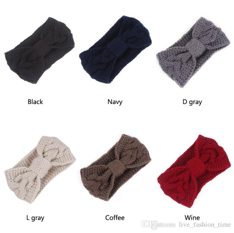 2018 Women Winter Solid Big Bow Fish Knit Wool Headband Fashion Girl Warm Woolen Crochet Turban Handmade Bow Knot Wide Head Wrap Headwear
