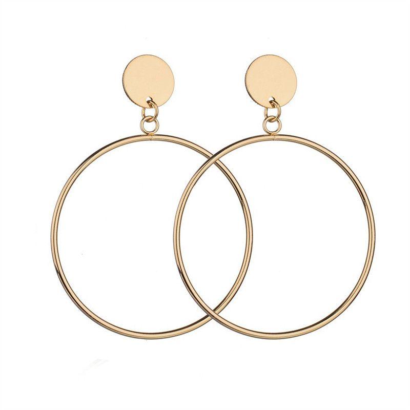 Earrings Reasonable Round Silver Circle Plated Gold Geometric Earrings Pendants For Women Swings Simple Personality Earring Wholesale