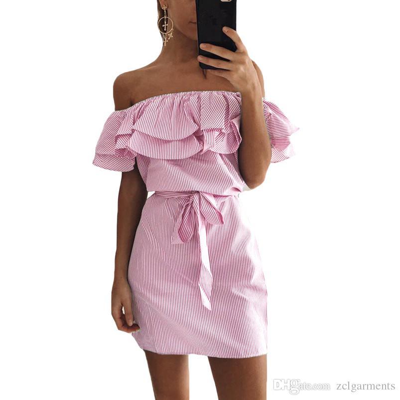 2018 الصيف أزياء المرأة الجديدة مخطط فساتين مثير كشكش البسيطة اللباس عارضة نمط مريح حزام النساء ملابس جميلة
