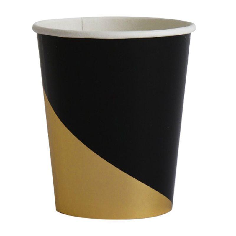 Gold schwarz Einweg Geschirr Sets Goldfolie Pappteller Tassen Servietten Thema Festival für Geburtstag Party Abschluss liefert