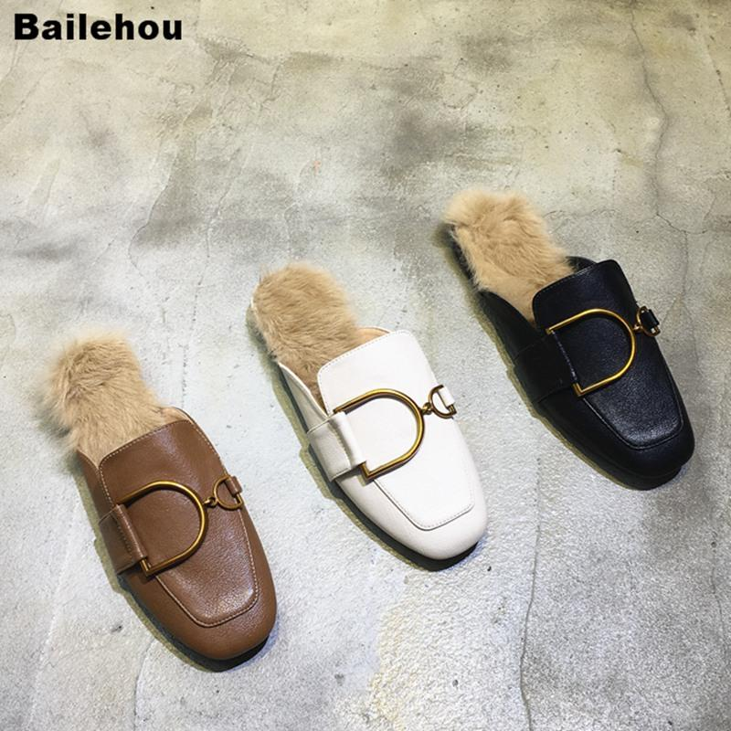 f9044691796 Women Flat Slippers Slip On Mule Shoes Low Heel Square Toe Casual Shoes  Fashion Buckle Loafer Zqpatills Mujer Brand Design Thigh High Boots Booties  From ...
