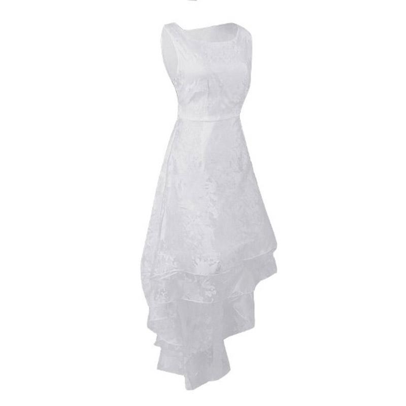 Mujeres hermosas Vestido de gasa blanca Chica Elegante Damas sin mangas Hi-lo Vestidos Tres capas Ropa grande de oscilación de las mujeres Ropa