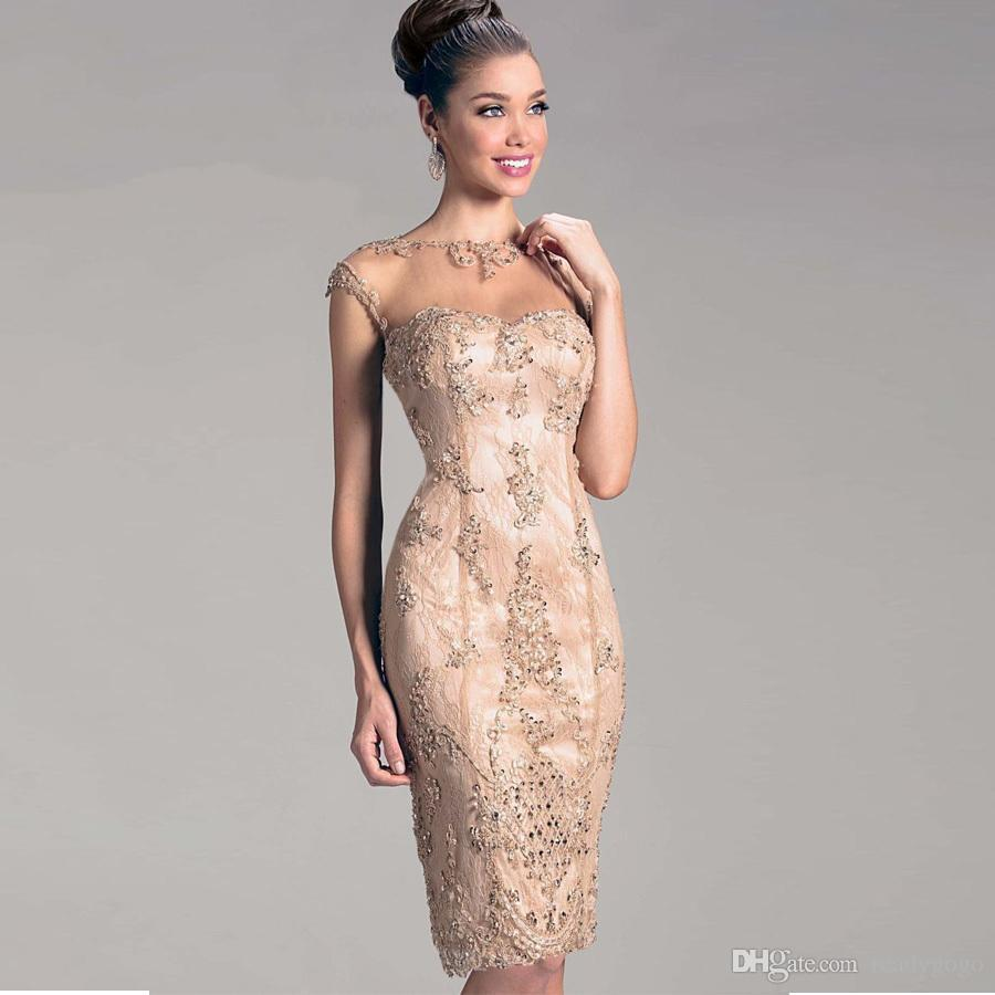 c7906de8f81f Champagne Lace Mother Of The Bride Groom Dresses For Beach Wedding Evening  Party Womens Sheer Neck Tulle Beaded Open Back Godmother Mother Of The Groom  ...